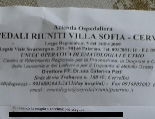Niente chemio a paziente non vaccinata. Succede all'ospedale Cervello di Palermo