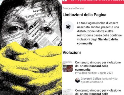 Inacettabili censure di Facebook sulle cure al Covid-19 e sul dibattito politico.